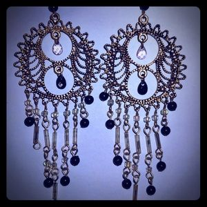 Black and Silver Dreamcatcher Earrings